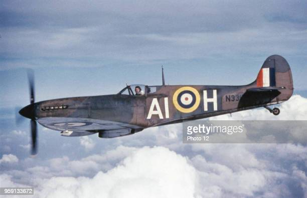 British Supermarine Spitfire singleengine light fighter A real legend in the history of aviation the Spitfire conceived by eingineer Reginald J...