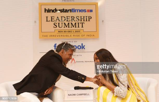 British supermodel and actress Naomi Campbell in conversation with Indian Supermodel and Actor Milind Soman during the Hindustan Times Leadership...