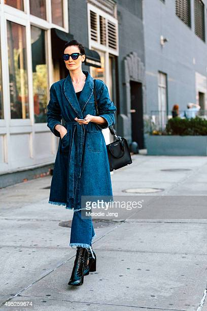 British supermodel Erin O'Connor exits the Michael Kors show at Spring Studios on September 16 2015 in New York City Erin wears black/blue...
