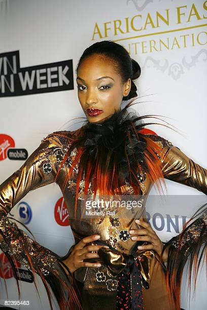 British Supermodel Jourdan Dunn wearing a design by David Tlale represents Virgin Mobile at the Virgin Mobile Cape Town Fashion Week at the Cape Town...