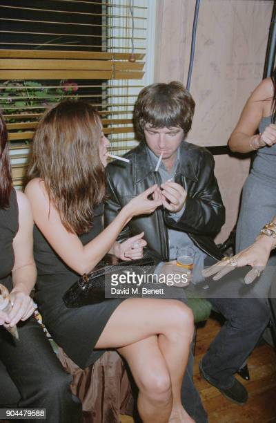 British supermodel Kate Moss and musician Noel Gallagher of rock group Oasis at the Lyceum Theatre after party for Steve Coogan's show 'The man who...