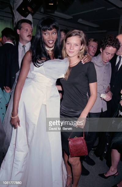 British supermodel Naomi Campbell with British supermodel Kate Moss at the launch of her book 'Swan' London UK 5th September 1994