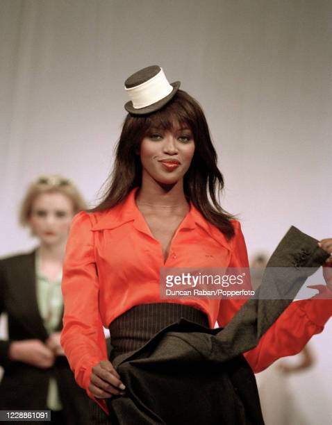 British supermodel Naomi Campbell walking on the catwalk in fashion designer Stella McCartney's Graduate Show in London England on 12 June 1995
