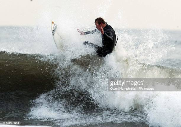 British Surf Champion Sam Lamiroy gets in some last minute practice at Tynemouth as he will try to defend his title in the British National...