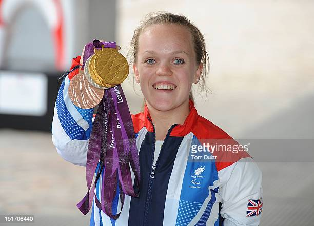 British swimmer Ellie Simmonds poses during the reception for Team GB and Paralympic GB athletes on September 10 2012 in London England