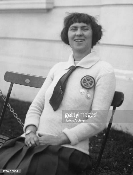 British swimmer Lillian Annie Hills, best known as Zetta Hills, sits on a bench on the day of her new attempt to cross the English Channel, Dover,...