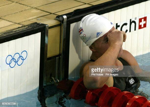 British swimmer Melanie Marshall reacts after coming last in her Women's 200m Freestyle semi final at the Olympic Aquatic Centre in Athens Greece
