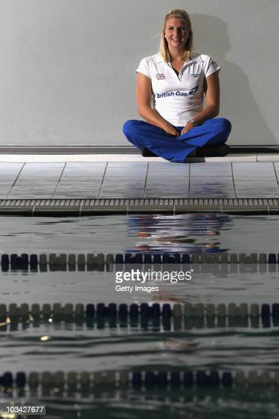 British swimmer Rebecca Adlington poses poolside at the launch of the British Gas 3 Free Swims campaign at the Clissold Leisure Centre on August 17,...