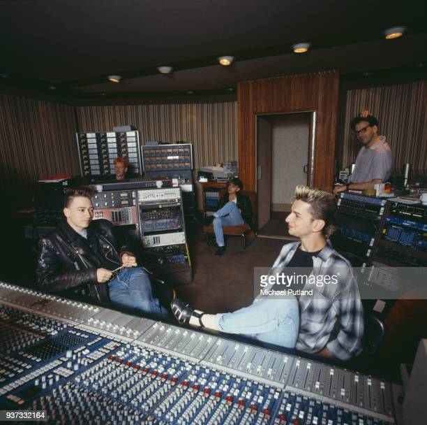 British synthpop band Depeche Mode in recording studio during the making of the Some Great Reward album, Berlin, July 1984.