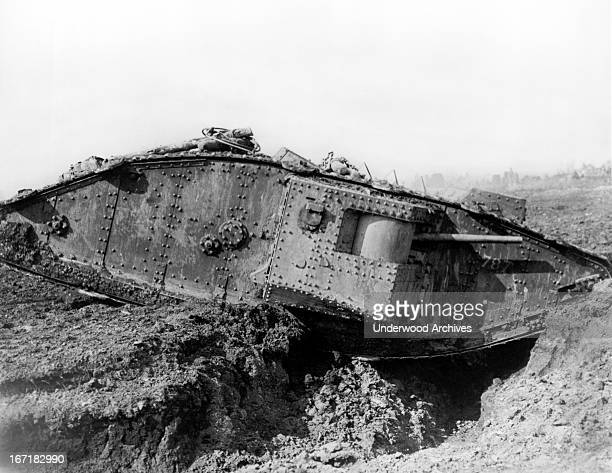A British tank crossing a trench on its way to the Battle of Cambrai Graincourt les Havrincourt France 1917
