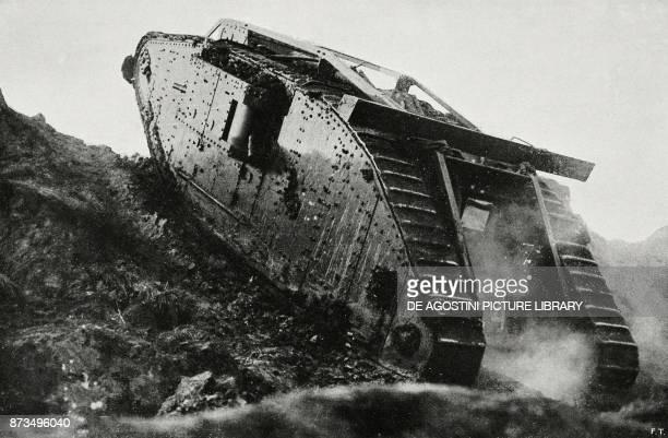British tank in action, France, World War I, from L'Illustrazione Italiana, Year XLIV, No 50, December 16, 1917.