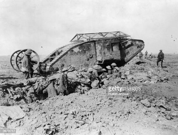 British tank in France during World War I.
