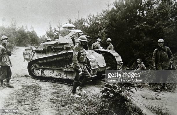 British Tank in Northern France during World War One 1917.