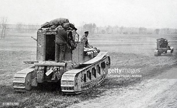 British tanks advance through France during the spring of 1918, World war one.