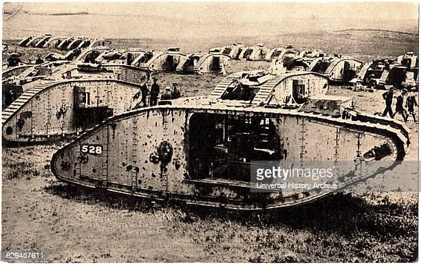 British Tanks, France, WWI, Postcard, circa 1917.