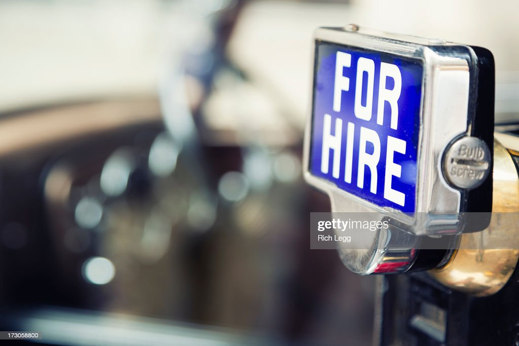 British Taxi For Hire Sign : Stock Photo