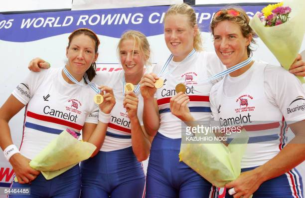 British team RL Katherine Grainger Frances Houghton Sarah Winckless and Rebecca Romero show their gold medals during an award ceremony for the...