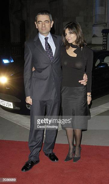 British television actor and comedian Rowan Atkinson and his wife arrive at a party for the premiere of Johnny English at the Royal Courts of Justice...
