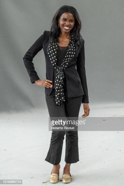 British television broadcaster June Sarpong attends a photocall during the annual Edinburgh International Book Festival at Charlotte Square Gardens...