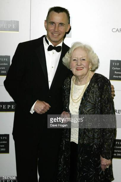 British television chef Gary Rhodes and Dame Marguerite Patten OBE attend The Tio Pepe Carlton London Restaurant Awards 2003 at the Great Room Le...