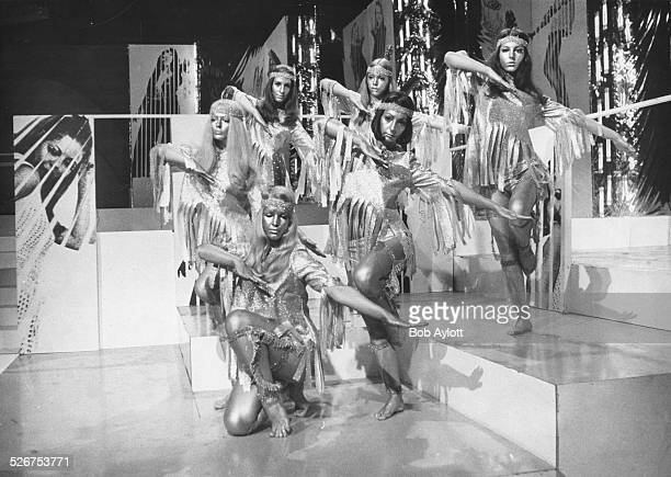 British television dance troupe Pan's People performing in costume on the BBC show 'Top of the Pops' at television centre London December 19th 1968
