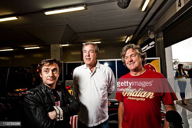 British television personalities Richard Hammond Jeremy Clarkson and James May of the Emmy award winning motoring show Top Gear at the Kyalami...