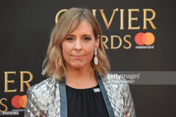 British television preseneter Mel Giedroyc poses on the red carpet upon arrival to attend The Olivier Awards at the Royal Albert Hall in central...
