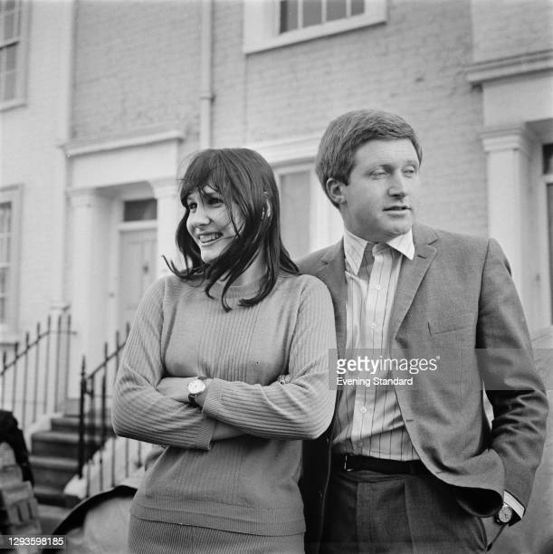 British television presenter David Dimbleby with his wife-to-be, cookery writer Josceline Gaskell, shortly before their wedding, UK, 19th January...