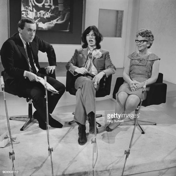 British television presenter David Frost hosts British singersongwriter Mick Jagger and British conservative social activist Mary Whitehouse on his...