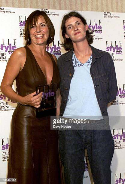 British television presenter Davina McCall who won an award for Best Television Presenter and British Big Brother contestant Anna Nolan arrive at the...