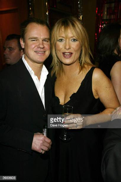 British television presenter Gaby Roslin and her husband Colin Peel attend the Chicago film party at the Cafe Royal on December 8 2002 in London