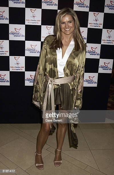 British television presenter Katy Hill arrives at the Capital Radio Awards held at the Royal Lancaster Hotel on April 16 2003 in London