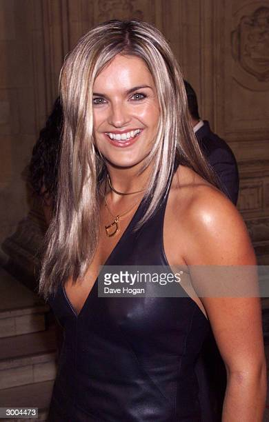 British television presenter Katy Hill arrives at the National Television Awards at the Royal Albert Hall on October 22 2000 in London