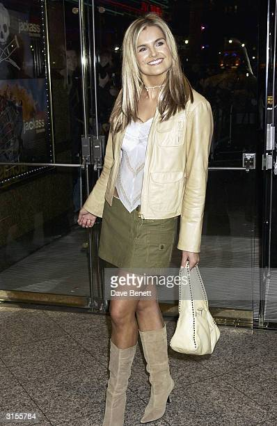 British television presenter Katy Hill arrives at the UK premiere of the film Jackass The Movie held at the Empire Cinema Leicester Square on...