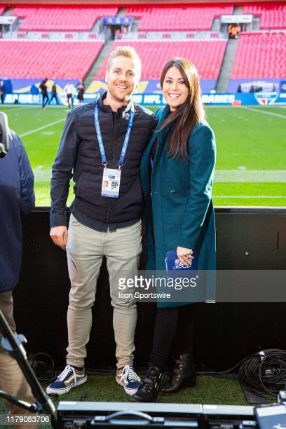 British Television presenter Sam Quek and her husband before the NFL game between the Cincinnati Bengals and the Los Angeles Rams on October 27 2019...
