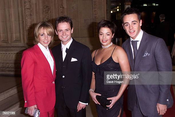 British television presenters Anthony McPartlin and Declan Donnelly and their girlfriends attend the 'Royal Television Awards' at the Royal Albert...