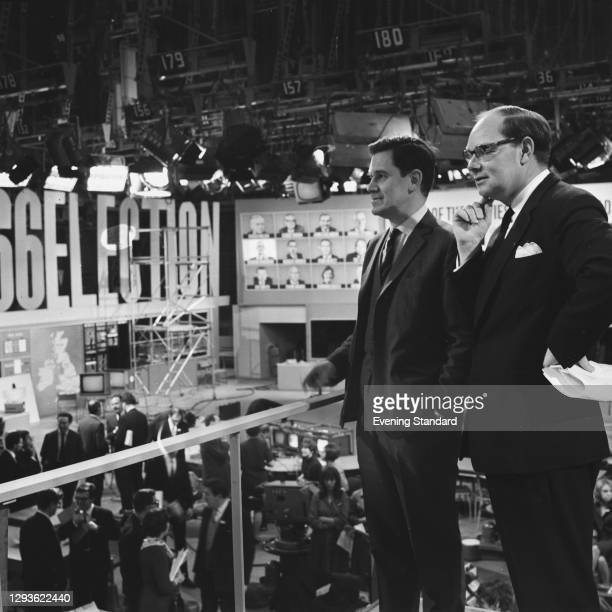 British television presenters Cliff Michelmore and Ian Trethowan prepare for the BBC news coverage of the 1966 General Election, London, UK, 28th...