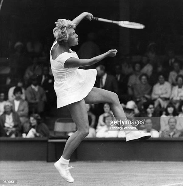 British tennis champion Ann Jones in action at Wimbledon the year she won the women's singles Original Publication People Disc HF0358