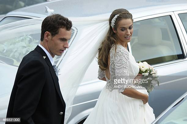 British tennis player Andy Murray and his new wife Kim Sears leave Dunblane Cathedral in Dunblane on April 11 2015 Tennis ace Andy Murray married his...