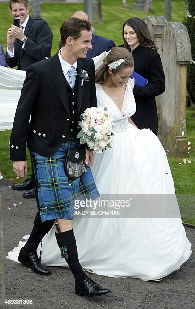 British tennis player Andy Murray and his new wife Kim Sears leave Dunblane Cathedral in Dunblane on April 11, 2015. Tennis ace Andy Murray married...