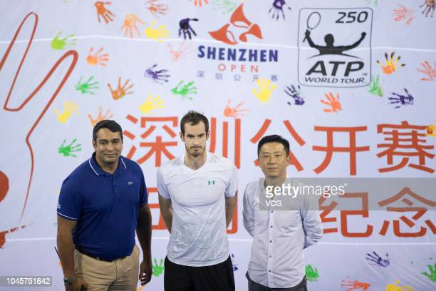 British tennis player Andy Murray attends the Shenzhen Open 5th anniversary celebration during the 2018 ATP Shenzhen Open on September 27 2018 in...
