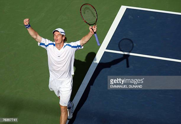 British tennis player Andy Murray celebrates a point on his way to win his match against Uruguay's Pablo Cuevas at the 2007 US Open in Flushing...