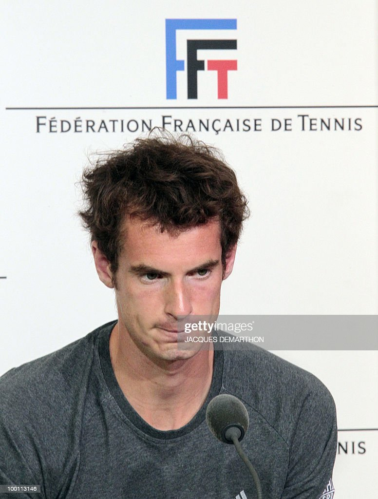 British tennis player Andy Murray gives a press conference on May 21, 2010 at Roland-Garros tennis stadium in Paris, two days ahead of the French Open, the second Grand Slam tournament of the season. For Roger Federer, Rafael Nadal, Serena Williams and Maria Sharapova, the French Open starts on May 23, 2010.