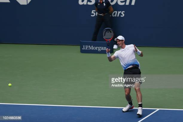 British tennis player Andy Murray in action against James Duckworth of Australia during US Open tennis tournament match at the Louis Armstrong...