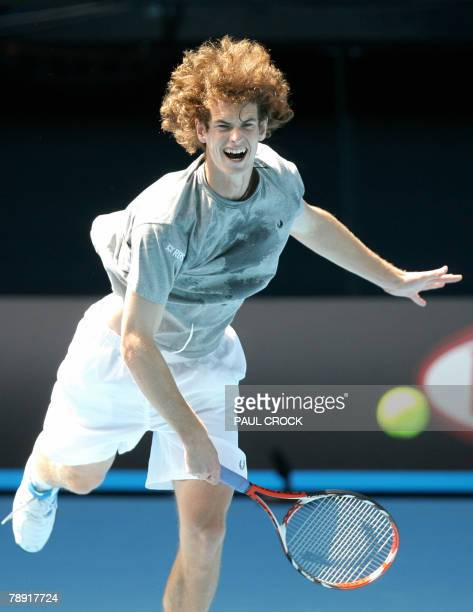 British tennis player Andy Murray plays a stroke during a practice session in Melbourne 13 January 2008 on the eve of the Australian Open tennis...