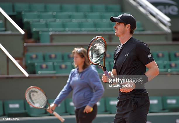 British tennis player Andy Murray takes part in a training session prior the 2015 French Open tennis championships at the Roland Garros stadium in...