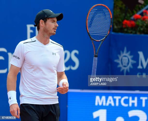 British tennis player Andy Murray throws his racket during his match against Austrian tennis player Dominic Thiem in the ATP Barcelona Open 'Conde de...