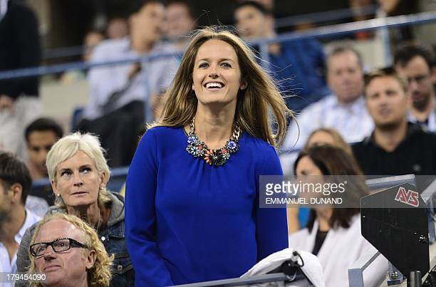 British tennis player Andy Murray's girlfriend Kim Sears reacts as he plays against Uzbekistan's Denis Istomin during their 2013 US Open men's...
