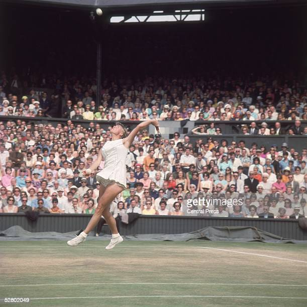 British tennis player Ann Jones in action against Billie Jean King during the Ladies SemiFinal at the Wimbledon Lawn Tennis Championships 8th July...