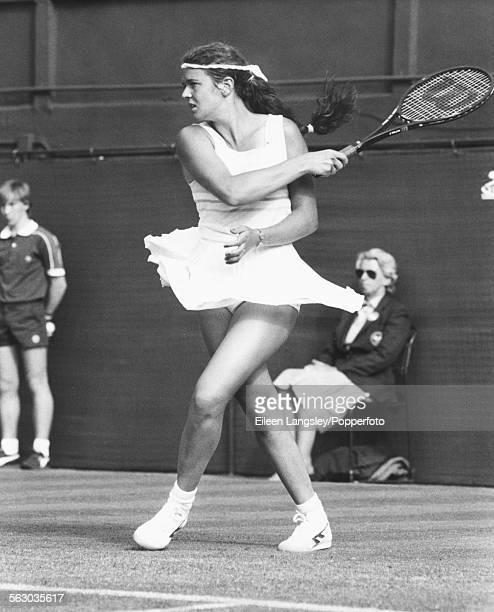 British tennis player Annabel Croft competing at Wimbledon Tennis Championships London England June 1984